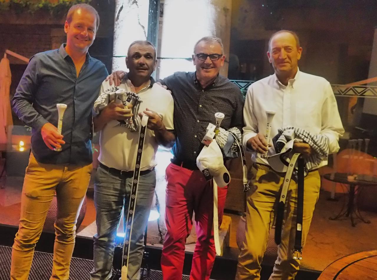 Les vainqueurs en net, William Hees, Patrick Coquoin, Philippe Ortiz et Marcel Tixier